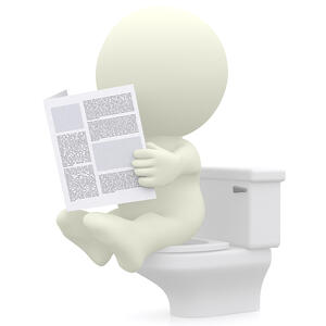 3D man reading newspaper in the toilet - isolated over a white background-1